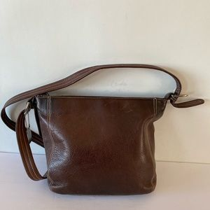 Tignanello Brown Leather Crossbody Shoulder Bag